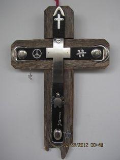 rustic cedar wood cross aged wood cross handmade OOAK by AnnDanCes, $60.00