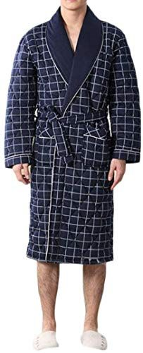 Etecredpow Mens Lounge Loungewear Quilted Thick Winter Bathrobe Print Robe