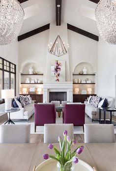Glam Living Room, Elegant Living Room, Formal Living Rooms, Living Room Interior, Home Interior, Decor Interior Design, Home And Living, Purple Living Rooms, Luxury Interior