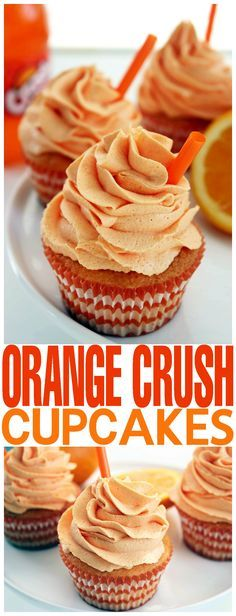 Crush Cupcakes These Orange Crush Cupcakes are a perfect summer treat. This cupcake recipe is great to serve at parties or to carry along for a picnic.These Orange Crush Cupcakes are a perfect summer treat. This cupcake recipe is great to serve at parties Oreo Cupcakes, Gourmet Cupcakes, Cake Cookies, Cookies Et Biscuits, Cupcake Cakes, Summer Cupcakes, Strawberry Cupcakes, Cup Cakes, Orange Cupcakes