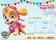 Paw Patrol to the Lookout!Paw Patrol is on a roll!My lovely kids love Paw Patrol so much! I had posted FREE Paw Patrol invitation where you can get it here, but today , my neighbor asked me to design Chase Paw Patrol invitation for his boy's birthda Free Printable Invitations Templates, Birthday Invitation Templates, Invitation Ideas, Party Printables, Online Invitations, Digital Invitations, Shower Invitation, Free Printables, Paw Patrol Birthday Invitations