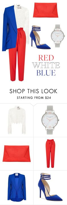 """red blue and white"" by shahina-ahad ❤ liked on Polyvore featuring Nicholas, Olivia Burton, Nasty Gal, Miss Selfridge, Hebe Studio and Jessica Simpson"