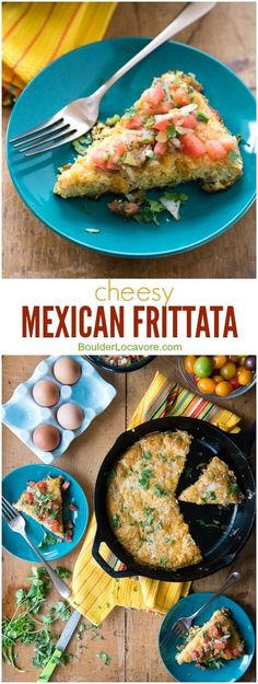 Cheesy Mexican Frittata. A super-quick meal full of Mexican taco seasonings, green chilies, jalapeno slices and fantastic cheese! Topped with fresh pico de gallo it is a great fast recipe for dinner or brunch. - http://BoulderLocavore.com