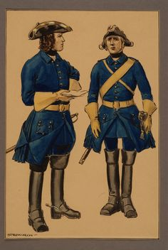 Officer and non-commissioned officer at Västgöta regiment of horse early 1700's by Einar von Strokirch