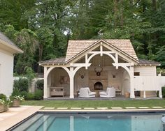 Fresh Wooden Pavilion with Comfortable Exterior Room Design: Sensational Pool Pavilion Design With Inground Pool Decor And Traditional Elegant Outdoor Design Ideas For Inspiration House