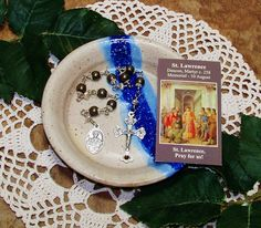 Unbreakable Catholic Relic Chaplet of St. Lawrence of Rome - Patron Saint of Chefs, Comics, Librarians, Seminarians, Students and Vintners by foodforthesoul on Etsy