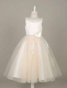 Flower Girl Dresses Tulle Pearls Beading Tutu Dress Lace Applique Ivory Sleeveless Flower Toddler's Dinner Dress