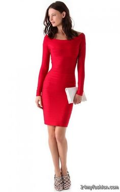 Red long sleeve dress 2017-2018 » B2B Fashion