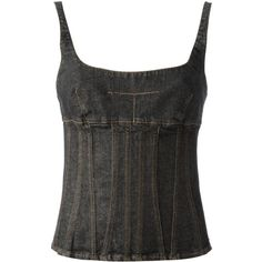 Dolce Gabbana Vintage denim corset-style top ($140) ❤ liked on Polyvore featuring tops, denim top, corset style tops and dolce gabbana top