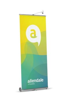 Yellow / Blue roll-up banner / display for Allendale