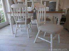 4 leuke witte landelijke brocante stoelen