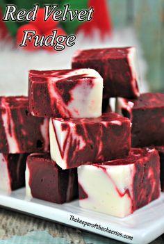 Red Velvet Fudge - The Keeper of the Cheerios Fudge Recipes, Candy Recipes, Sweet Recipes, Dessert Recipes, Baked Fudge Recipe, Best Fudge Recipe, Easy Chocolate Fudge, Semi Sweet Chocolate Chips, Easy Fudge