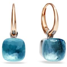 Pomellato Nudo Blue Topaz Rose Gold Earrings (€2.795) ❤ liked on Polyvore featuring jewelry, earrings, pink gold earrings, pink gold jewelry, pomellato, sparkle jewelry and rose gold earrings