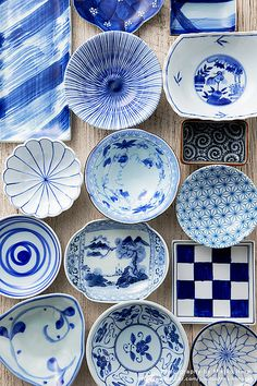 Japanese tableware....blue & white. blue and white always makes your food look nicer (shades of blue green are nice too!).