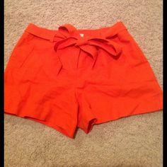 LOFT Orange Linen Shorts Somewhat high waisted LOFT Shorts