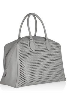 Leather tote ~ gray