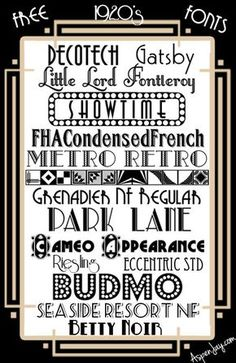 Great Gatsby fonts-whatever you want t… 15 Free fonts; Great Gatsby fonts-whatever you want to call them! Roaring 20s Party, 1920s Party, Gatsby Party, Roaring Twenties, Twenties Party, Gatsby Theme, Gatsby Wedding, 1920s Font, Comic Book Font