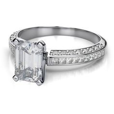 .54ctw Sleek Invisible Channel Set Emerald Cut Engagement Ring in 14k White Gold VS G-H