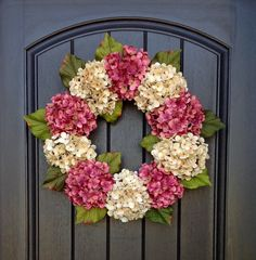 Hydrangea Wreath Spring Wreath Summer Wreath Grapevine Door Wreath Mauve/Rose Cream Hydrangea Floral Door Decoration Indoor Outdoor by AnExtraordinaryGift on Etsy