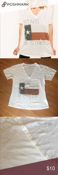 Southward brand Texas V-Neck For all my fellow Texas gals! Super cute Texas v-neck  •Two small foundation dots shown in third photo (did my best to photograph, they are really small) •smoke/pet free home •50% cotton 50% modal Southward Tops Tees - Short Sleeve