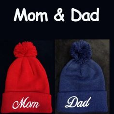 Mom & Dad The Cutest Hats for Parents Ever! Pom Pom Beanie Hats Christmas Gift!! #christmasgifts #christmas2014 #gifts
