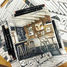 #ArtRi4ik Кофейня «СОВЫ» #sketch #sketching #sketchmarkers #sketchinterior #sketchbook #sketchmarkersclub #stabilo #sakura #кофейня #совы #кофе #copic #copicmarkers #touch #touchfinemarker