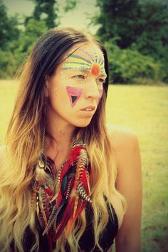 Burning Man Red Natural Long Feather Chain by Cloud9Jewels on Etsy