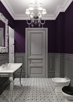 Bathroom decor ideas: purple paint and chandelier
