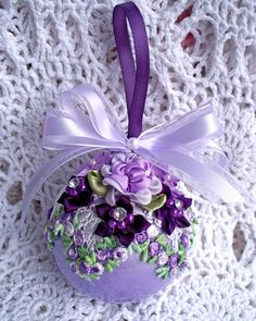 Victorian Christmas Ornament Lavender Purple Roses Pearls Venise Lace Ball | eBay