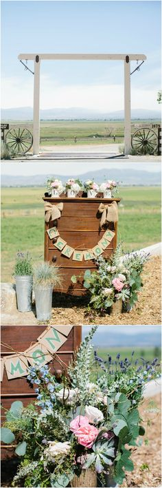 Tahoe wedding, rustic decorations, chest of drawers, wagon wheels // Anna Marks Photography