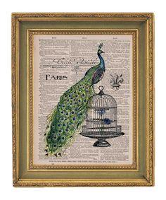 Paris Peacock Print - Vintage Book Print Page Art Print by papergangsterprints on @Etsy