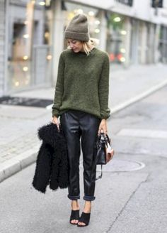 44 Ways to Dress Up Your Oversized Sweater with Trousers #Style https://seasonoutfit.com/2018/01/14/44-ways-to-dress-up-your-oversized-sweater-with-trousers/