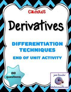 FREEBIE!!! The lesson is designed for AP Calculus AB/BC or Collegiate Calculus 1. It is a great Practice, Review, Test, or HW for the Unit on Techniques of Finding Derivatives. This bundle includes four versions of a worksheet, each with twenty -two well chosen representative questions. There are two versions in multiple choice format and two versions in free response format, all with answer keys, for a total of 88 questions. Math Teacher, Math Classroom, Future Classroom, Teaching Math, Teaching Ideas, Classroom Ideas, Ap Calculus, Maths Algebra, College Math