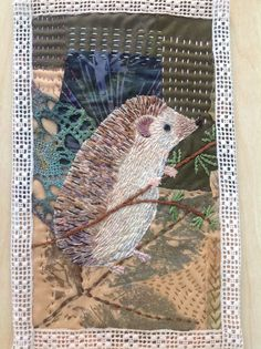 Number two hedgehog! Trial and error stitching these prickly creatures. Wool Applique Quilts, Embroidery Applique, Textile Fiber Art, Textile Artists, Fabric Postcards, Bird Quilt, Creative Textiles, Miniature Quilts, Animal Quilts