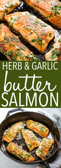 This One Pan Herb and Garlic Butter Salmon is low-carb, juicy and delicious! Pan-fried salmon with a simple herb and garlic butter sauce! Recipe from thebusybaker.ca! #lowcarb #salmon #recipe #garlic #butter #herbs #maindish #healthy #keto #easy #onepan via @busybakerblog Fish Dishes, Main Dishes, Seafood Dishes, Healthy Recipes, Healthy Tips, Fall Recipes, Healthy Foods, Dinner Recipes, Butter Sauce