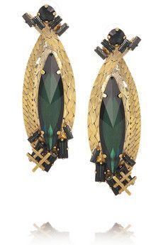 Family Jewels 22-karat gold-plated Swarovski crystal earrings by Erickson Beamon