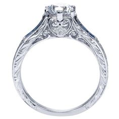 Beautiful Vintage Inspired White Gold Carved Sapphire Accent Engagement Ring @ Wedding Day Diamonds