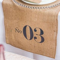 Burlap Table Runner with Table Numbers 100% Jute