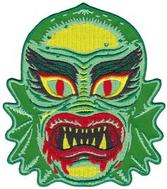 FISH FACE FREAK PATCH - Nothing fishy here. Nothing at all.  You know, except this green, lagoon-dwelling, creep.   Perfect for ironing or sewing onto any fabric, this aquatic monstrosity will look great on any creature loving seafarer's bag or jacket.
