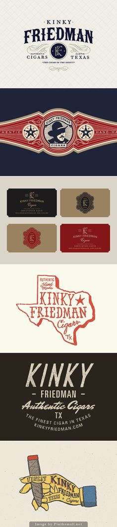 Steve Wolf Kinky Friedman Cigars Branding, Graphic Design, Typography - created via http://pinthemall.net
