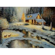 """Thomas Kinkade - Art Reproduction Oil Painting - Deer Creek Cottage - Extra Large 30"""" X 40"""" - Hand Painted Canvas Art"""
