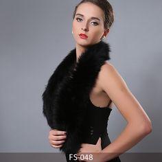 MBA Furs-Luxury double color big fox fur scarf neck warmer FS-048(3)(Black)