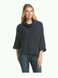 DKNY Jeans Women's Indigo Speckled Poncho Size L MSRP $ 89 50 | eBay
