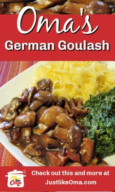 Wondering how to make goulash that tastes traditionally German? Here's my easy way to make this favorite. I'm sure it'll become yours as well. So LECKER! dishes ❤ How to Make Goulash Just like Oma * Spicy Recipes, Grilling Recipes, Meat Recipes, Cooker Recipes, Meat Appetizers, Appetizer Recipes, Dinner Recipes, Dinner Ideas, Beef Dishes