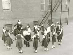 Sister Emma at recess with students @ St. Pius in the 1960s
