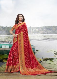 Net Saree, Silk Sarees, Designer Wear, Designer Sarees, Indian Sarees Online, Saree Models, Indian Ethnic Wear, Red Fabric, Long Blouse