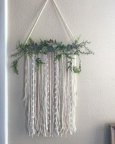 boho nursery wall hanging Baby shower decor Boho decor nursery decor is part of Wall hanging diy - This gorgeous wall hanging with greenery would be amazing in a nursery! This measures about 12 wide Décor Boho, Boho Diy, Bohemian Crafts, Boho Nursery, Nursery Decor, Nursery Office, Room Decor, Diy Wall Decor, Diy Home Decor