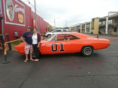 Christine and Roger from Newport Road Island at Cooter's Garage - Dukes of Hazzard Museum today in Nashville  www.cootersplace.com