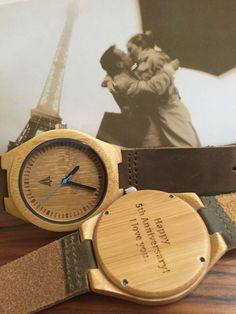 - Product Features - Shipping & Returns - Engraving Services The bamboo wooden watch is equipped with high quality Japan quartz movement. Strap is made of genuine leat Gifts For Hubby, Gifts For Him, Great Gifts, Paper Anniversary, Wedding Anniversary Gifts, Tree Hut Watches, Engraving Services, Blue Gift, Style