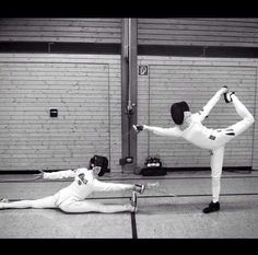 If my friend ever does fencing with me, that would be us! Fencing Foil, The Fencer, Fencing Sport, Epee Fencing, Sport Editorial, Kendo, Sports Art, Sports Humor, Olympic Games